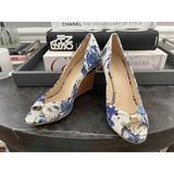 Gucci Shoes | Gucci Floral White + Blue Cork Canvas Wedges | Color: Blue/White | Size: 6.5