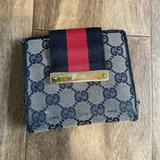 Gucci Bags   Gucci Unisex House Web Striped Wallet In Navy   Color: Red   Size: Os