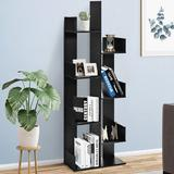 Latitude Run® Freestanding Bookshelf 8-shelf Floor Stand Display Wooden Bookcase For Home Ofiice Wood in Black, Size 57.0 H x 20.0 W x 10.0 D in