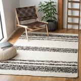 Union Rustic Abbee Southwestern Handwoven Cotton/Wool Black/Ivory Area Rug Wool/Cotton in White, Size 36.0 W x 0.31 D in | Wayfair