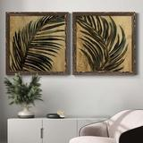 Bay Isle Home™ Lush Palm I - 2 Piece Picture Frame Painting Set on Canvas Canvas & Fabric in Black/Blue/Brown, Size 24.0 H x 24.0 W x 1.0 D in