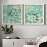 Red Barrel Studio® Chickadees & Dogwood - Detail I - 2 Piece Picture Frame Painting Set on Canvas Canvas & Fabric in Black/Blue/Brown | Wayfair