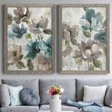 Red Barrel Studio® Topaz Garden I - 2 Piece Picture Frame Painting Set on Canvas Canvas & Fabric in Black/Blue/Brown | Wayfair