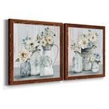 Ophelia & Co. French Garden Flowers I - 2 Piece Picture Frame Painting Set on Canvas Canvas & Fabric in Black/Blue/Brown | Wayfair