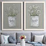 Red Barrel Studio® Bouquet of Grace Bucket Gather - 2 Piece Picture Frame Painting Set on Canvas Canvas & Fabric in Black/Blue/Brown | Wayfair