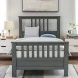 Harriet Bee Twin Size Solid Wood Platform Bed Frame w/ Headboard & Footboard For Boys, Girls, Kids, Teens & Adults Wood in Gray | Wayfair