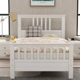 Harriet Bee Wood Platform Bed w/ Headboard & Footboard, Twin (Gray) Wood in White, Size 39.2 W x 75.9 D in | Wayfair