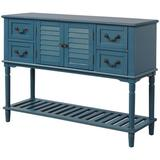 Darby Home Co TREXM Console Table Sideboard For Entryway Sofa Table w/ Shutter Doors & 4 Storage Drawers (Antique ) Wood in Blue | Wayfair