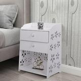 Winston Porter 2-Drawer Nightstand Bedside Tables Cabinet Storage Furniture Shelf Cupboard Wood in Brown/White, Size 19.68 H x 15.74 W x 11.81 D in