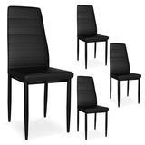 Everly Quinn Faux Leather Upholstered Dining Chairs For Kitchen/Dining Room Set Of 4 Faux Leather/Upholstered in Black | Wayfair