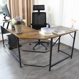 Inbox Zero Industrial L-Shaped Desk, Corner Computer Desk Pc Laptop Study Table Workstation For Home Office Wood & Metal, Rustic Brown Wood/Metal
