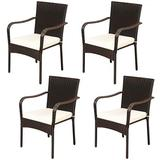 Costway Set of 4 Patio Rattan Stackable Dining Chair with Cushioned Armrest for Garden