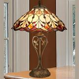 Tobias Dragonfly Stained Glass Table Lamp Multi Jewel , Multi Jewel