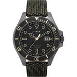 Harborside Coast 43mm Fabric Strap Watch Gunmetal/green/black - Black - Timex Watches