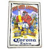 """World Bazzar Hand Carved Surfer Parrot Beer Drinking """" YOU Need Another CORONA EXTRA """" Tiki Bar Cute Sign Bright, Size 16.0 H x 12.0 W x 1.0 D in"""