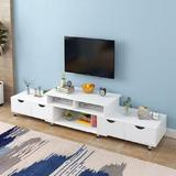 "Latitude Run® 71"" Retractable TV Stand w/ Storage Shelves Wood in White, Size 14.17 H in   Wayfair F5574D54FB6B4059B28B6EF9DBF5559E"