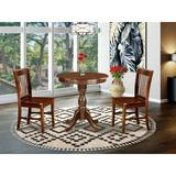 Canora Grey Federalsburg 2 - Person Counter Height Rubberwood Solid Wood Dining Set Wood in Brown, Size 35.0 H in   Wayfair