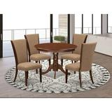 Canora Grey Felsenthal Rubberwood Solid Wood Dining Set Wood/Upholstered Chairs in Brown, Size 30.0 H in | Wayfair 2D372D38C5BB4F74953C08EB1AE6C41E