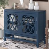 Red Barrel Studio® Accent Buffet Sideboard Storage Cabinet w/ Doors & Adjustable Shelf, Entryway Kitchen Dining Room, Navy Wood in Blue | Wayfair