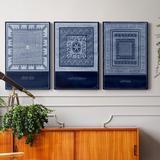 Dakota Fields Indigo Tile I - 3 Piece Wrapped Canvas Graphic Art Set Canvas & Fabric in White, Size 36.0 H x 24.0 W x 1.0 D in | Wayfair