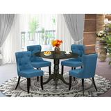 Canora Grey Felstead Drop Leaf Rubberwood Solid Wood Dining Set Wood/Upholstered Chairs in Black, Size 30.0 H in | Wayfair