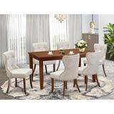 Red Barrel Studio® Rubberwood Solid Wood Dining Set Wood/Upholstered Chairs in Brown, Size 30.0 H in | Wayfair 50AB19C8191345F787932DB48A50DC3F