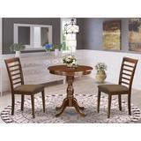 Canora Grey Federalsburg 2 - Person Counter Height Rubberwood Solid Wood Dining Set Wood/Upholstered Chairs in Brown, Size 35.0 H in | Wayfair