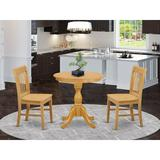 Canora Grey Federalsburg 2 - Person Counter Height Rubberwood Solid Wood Dining Set Wood in Brown, Size 35.0 H in | Wayfair