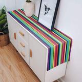 Latitude Run® Cotton Linen Table Runner Colorful Stripes Rainbow Table Runner Dresser Scarves Multicolor Line Table Runner Table Setting Decor For Farmhouse Wedding Linen