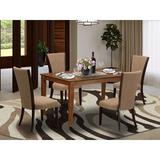 Red Barrel Studio® Rubberwood Solid Wood Dining Set Wood/Upholstered Chairs in Brown, Size 29.0 H in | Wayfair 84D9093D88C04C26BAD178BF3FC35E8D