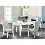 Red Barrel Studio® Rubberwood Solid Wood Dining Set Wood/Upholstered Chairs in White, Size 29.0 H in | Wayfair 52D3DA8A814A4DE992B868268B2DD848