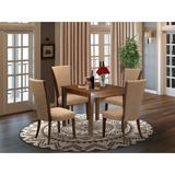 Red Barrel Studio® Rubberwood Solid Wood Dining Set Wood/Upholstered Chairs in Brown, Size 30.0 H in | Wayfair 41F55FD11FBF4A9DAAAF71BE5B9F64FB