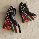 Nine West Shoes | Nine West Patent Leather Sling Back Platforms. | Color: Black | Size: 7.5