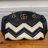 Gucci Bags | Gucci Gg Marmont Matelasse Shoulder Tote | Color: Black/White | Size: 11.5w X 9.5h X 3.5d