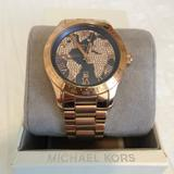 Michael Kors Accessories   Michael Kors World Map Rose Gold Crystal Watch   Color: Gold/Tan   Size: 8 Inch Bracelet
