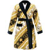I Love Baroque Printed Cotton Bathrobe - Yellow - Versace Nightwear