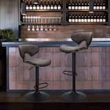 17 Stories Bar Stools Set Of 2 Counter Height, Swivel Barstools w/ Footrest & Back in Gray, Size 16.3 W x 16.3 D in | Wayfair