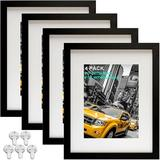 Latitude Run® Picture Frames 8X10 Picture Frame Set Of 4,Display Pictures 5X7 w/ Mat Or 8X10 Without Mat,Multi Photo Frames Collage For Wall Or Tabletop Display