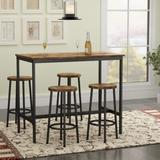 17 Stories 5 Pieces Dining Table Chair Set/Bar Table & Chairs Set Industrial Counter Height Pub Table w/ 4 Chairs in Black/Brown | Wayfair