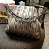 Jessica Simpson Bags | Jessica Simpson Pleated Metallic Vegan Leather Bag | Color: Gold/Silver | Size: Medium To Large - See Listing