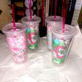 Lilly Pulitzer Dining | Lilly Pulitzer 20 Oz Big Tumbler Cup Set Of 4 | Color: Pink | Size: Os