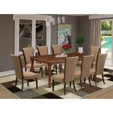 Canora Grey Feasterville Butterfly Leaf Rubberwood Solid Wood Dining Set Wood/Upholstered Chairs in Brown, Size 30.0 H in | Wayfair