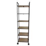 17 Stories 5-Story Bookcase w/ Wheel in Brown, Size 63.5 H x 16.1 W x 12.2 D in   Wayfair 555D4455CD4B401EBDFE4ADE0677A3C0