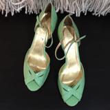 J. Crew Shoes   J.Crew Alessia Patent Leather Peep Toe Pumps, Sz 9   Color: Green   Size: 9