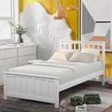 Harriet Bee Classical & Elegant Wood Platform Bed Twin Size Platform Bed, White Wood in Brown/White, Size 41.4 H x 41.7 W x 79.5 D in | Wayfair