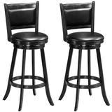 "Costway Set of 2 29"" Swivel Bar Height Stool Wood Dining Chair Barstool-Black"