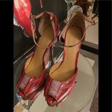 Nine West Shoes   Nine West Size 10.5 Snake Peep Toe Ankle Strap   Color: Pink/Red   Size: 10.5