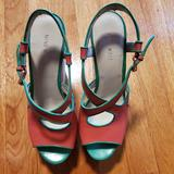 Nine West Shoes | New Nine West Leather Pink And Green Sandals Sz 8 | Color: Green/Pink | Size: 8