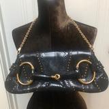 Gucci Bags | Gucci Python Studded Horse-Bit Chain Clutch Bag | Color: Black | Size: Os