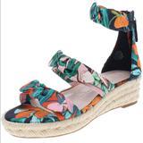 Nine West Shoes | Nine West Allegro Floral Espadrille Sandals Vegan | Color: Blue/Orange | Size: 9